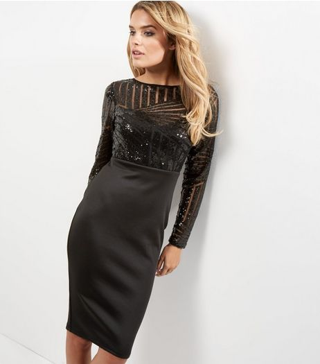 AX Paris Black Sequin Midi Dress | New Look