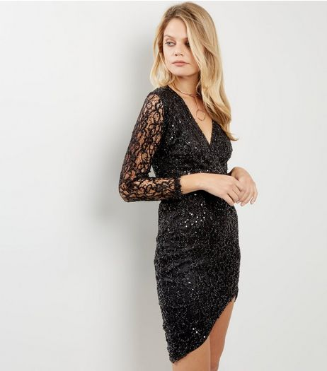 AX Paris Black Plunge V Neck Sequin Dress  | New Look