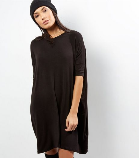 Black Oversized T-Shirt Dress | New Look