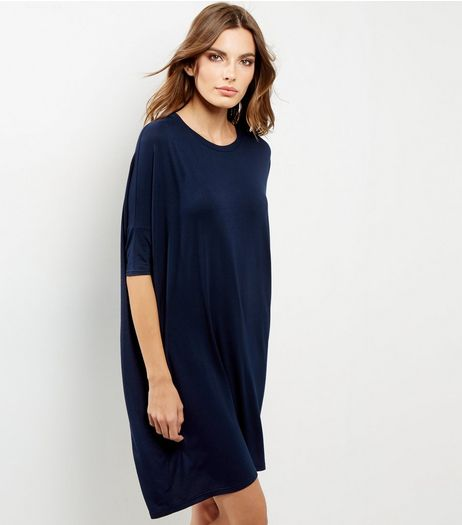 Navy Oversized Batwing Sleeve T-Shirt Dress | New Look