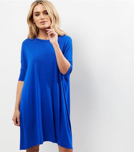 Blue Oversized T-Shirt Dress | New Look