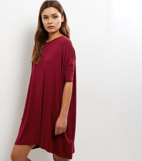 Burgundy Oversized T-Shirt Dress | New Look