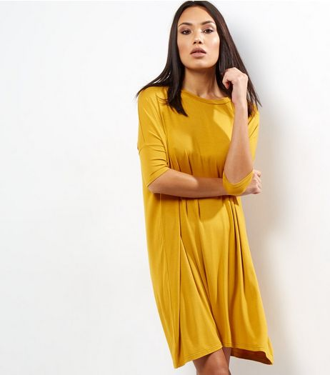 Yellow Oversized T-Shirt Dress | New Look