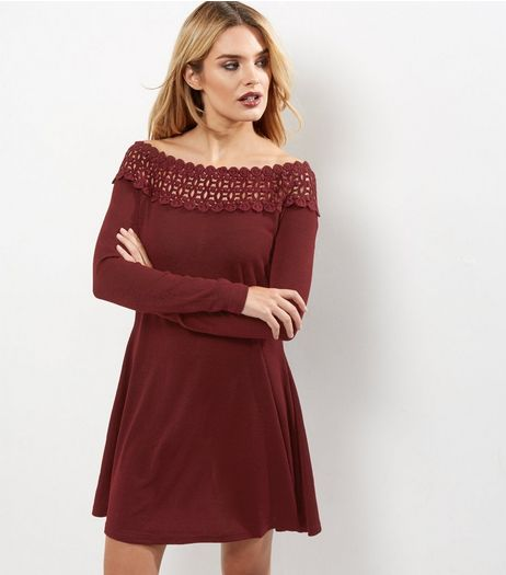 AX Paris Crochet Lace Panel V Neck Skater Dress | New Look