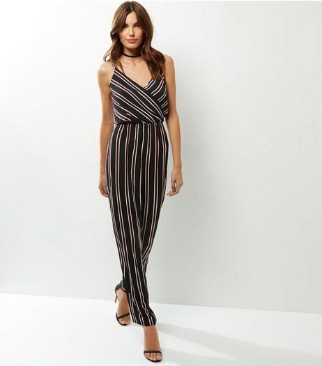 AX Paris Black Stripe Jumpsuit | New Look