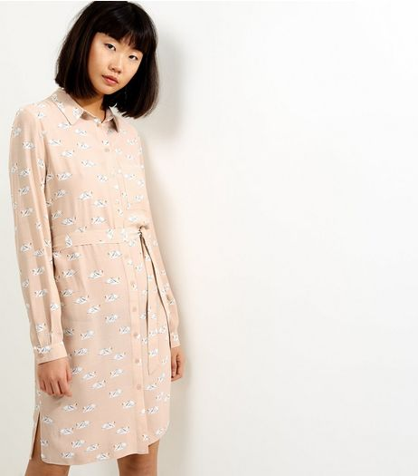 Pink Swan Print Tie Waist Shirt Dress | New Look