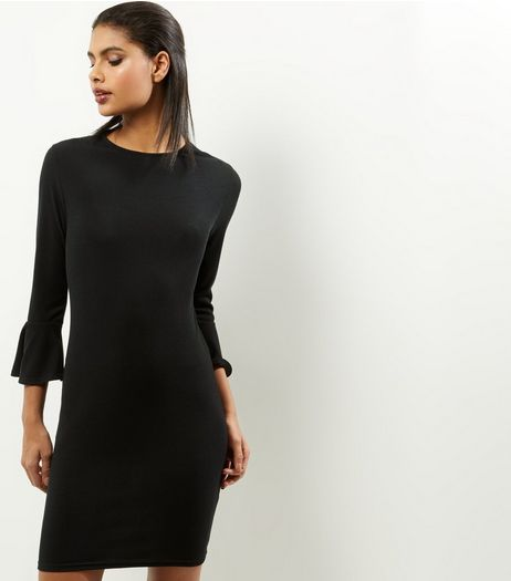 Black Ribbed Bell Sleeve Bodycon Mini Dress | New Look