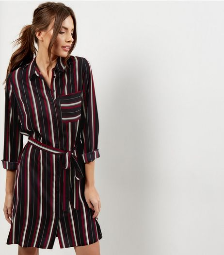 Black Stripe Belted Shirt Dress | New Look