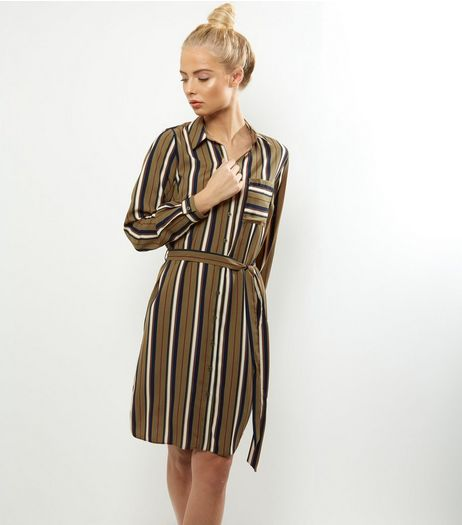 Green Stripe Belted Shirt Dress | New Look