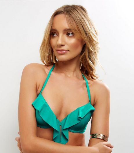 Green Frill Trim Underwired Plunge Bikini Top | New Look