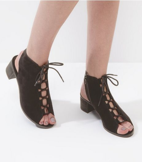 Black Suedette Lace Up Peep Toe Ghillie Heels | New Look