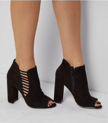 Black Suedette Lattice Side Peep Toe Boots | New Look