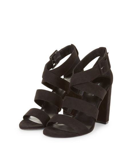 Black Suedette Wide Multi Strap Heels | New Look
