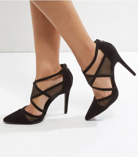 Black Suedette Cut Out Mesh Panel Court Shoes | New Look