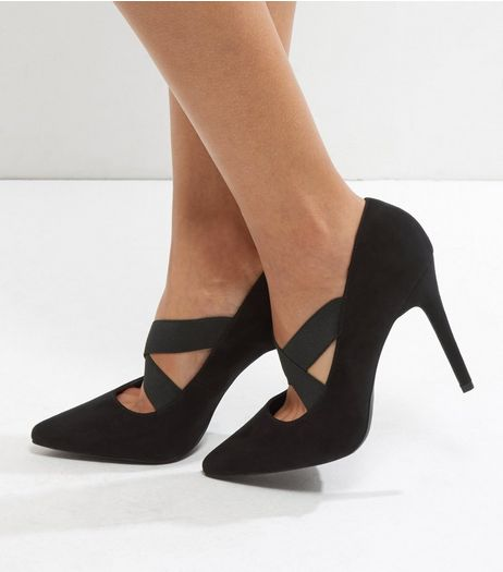 Black Suedette Cross Strap Pointed Heels | New Look