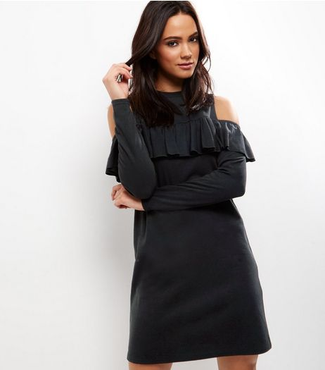 Black Frill Trim Cold Shoulder Swing Dress | New Look