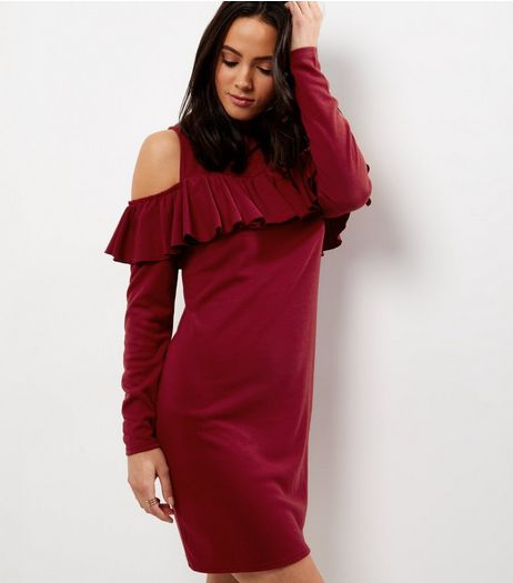 Burgundy Frill Trim Cold Shoulder Swing Dress | New Look