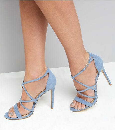 Light Blue Suedette Multi Strap Heeled Sandals | New Look