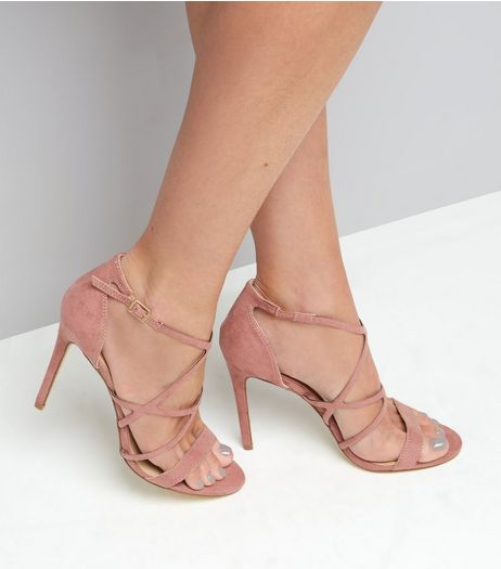 Light Pink Suedette Multi Strap Heeled Sandals | New Look