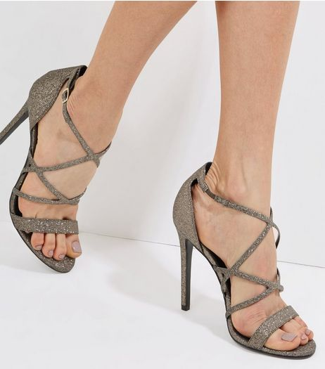 Bronze Glitter Multi Strap Heeled Sandals | New Look