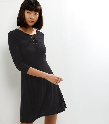 Black Ribbed Lattice Front Skater Dress | New Look