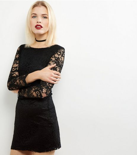 Mela Black Lace Long Sleeve Bodycon Dress | New Look
