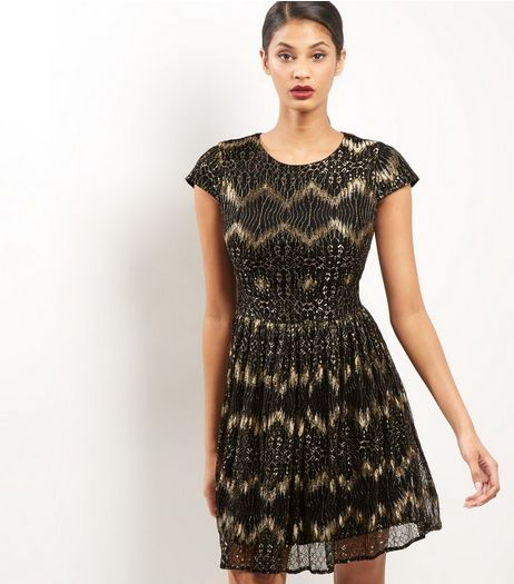 Mela Black Lace Cap Sleeve Dress | New Look