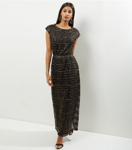 Mela Gold Metallic Lace Maxi Dress | New Look