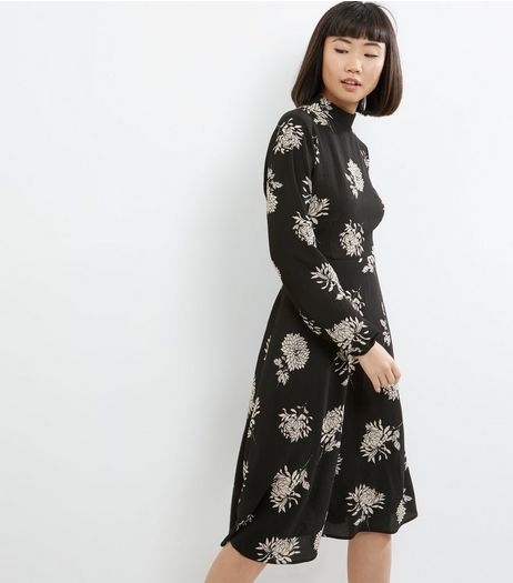 Black Floral Print Funnel Neck Dress | New Look
