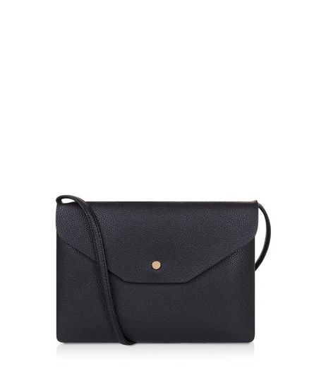 Black Leather-Look Foldover Cross Body Bag | New Look