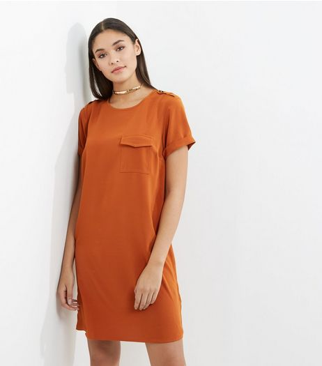 Light Brown Pocket Front Tunic Dress | New Look