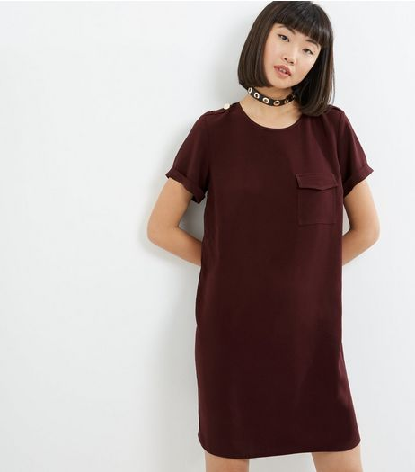 Burgundy Pocket Front Tunic Dress | New Look