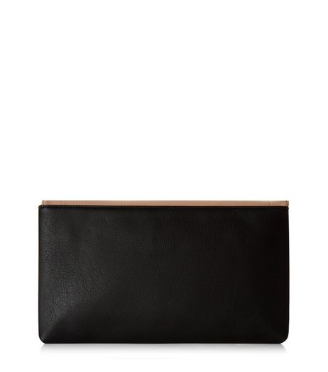 Black Contrast Panel Clutch | New Look