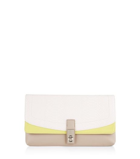 White Neon Trim Clutch | New Look