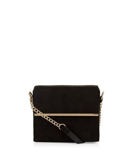 Black Suedette Metal Chain Shoulder Box Bag | New Look