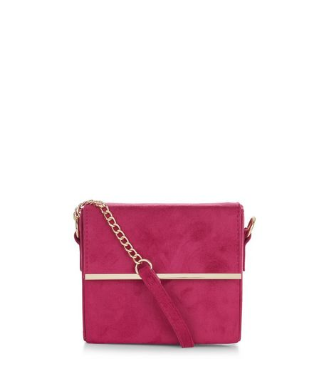 Neon Pink Suedette Bar Trim Chain Shoulder Bag  | New Look