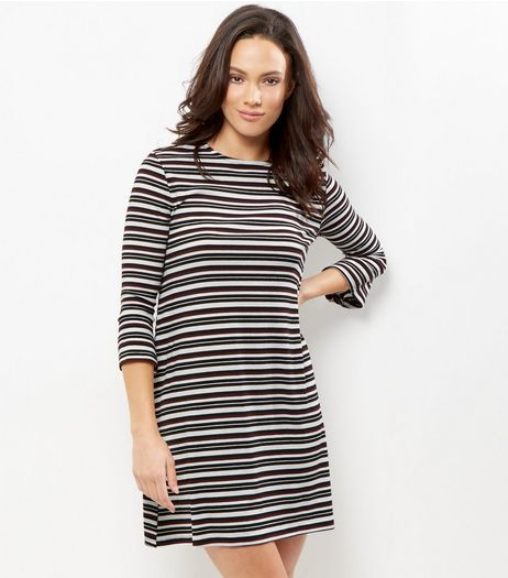 Black Stripe Print Flute Sleeve Swing Dress | New Look