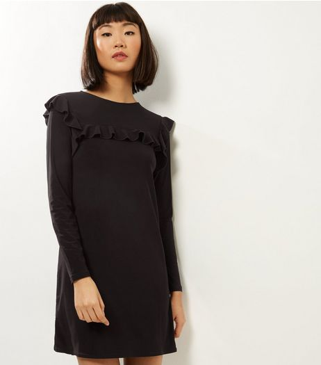 Black Frill Trim Long Sleeve Tunic  | New Look