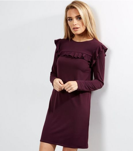 Dark Purple Frill Trim Long Sleeve Tunic  | New Look