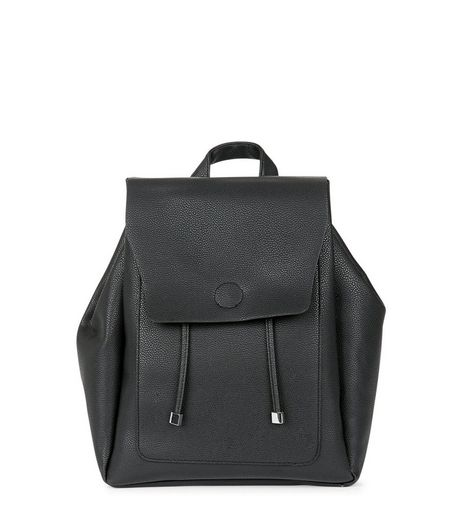 Black Structured Drawstring Backpack | New Look