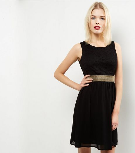 Mela Black Metallic Waistband Dress | New Look