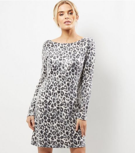 Mela White Leopard Print Bodycon Dress | New Look