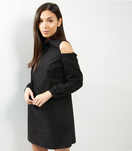 Black Cold Shoulder Tunic Dress | New Look