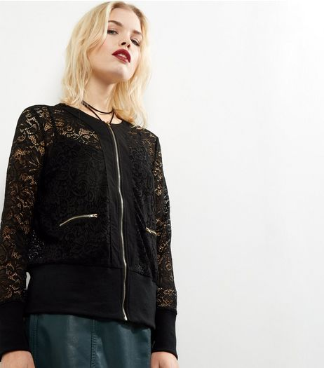 Mela Black Lace Bomber Jacket  | New Look