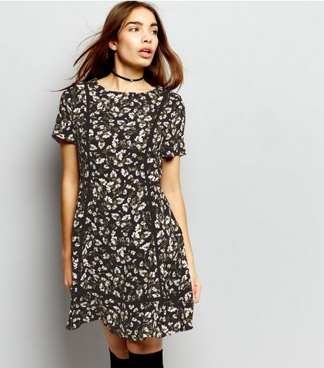 Black Floral Print Ladder Trim Skater Dress  | New Look