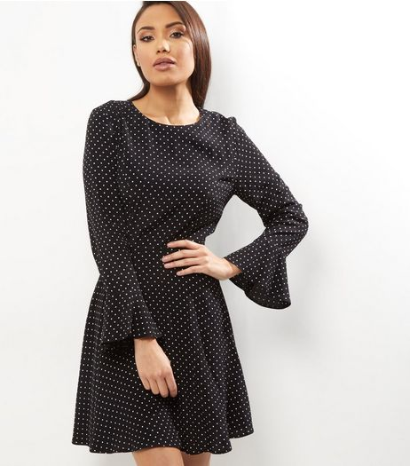 Black Polka Dot Print Bell Sleeve Sweater Dress  | New Look