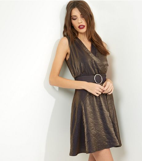 Mela Gold Metallic Belted Dress | New Look