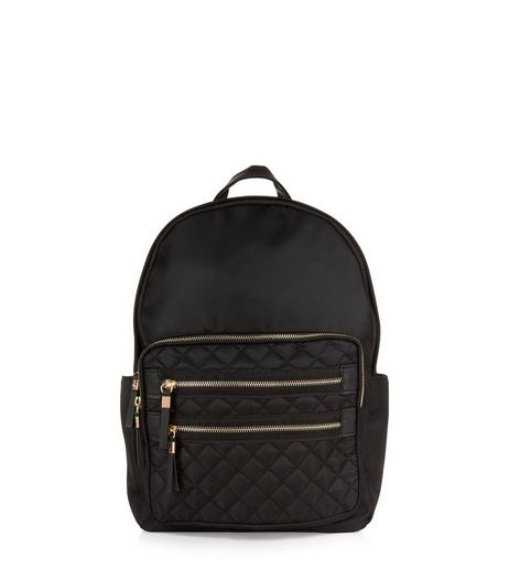 Black Quilted Pocket Front Backpack | New Look