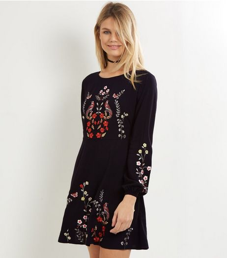 Black Embroidered Long Sleeve Skater Dress | New Look