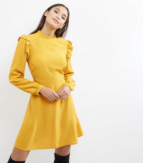 Yellow Frill Trim Long Sleeve Skater Dress | New Look